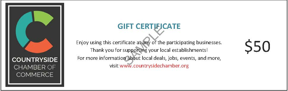 A sample gift certificate showing the CCC logo on the left and the certificate value, $50, on the right.